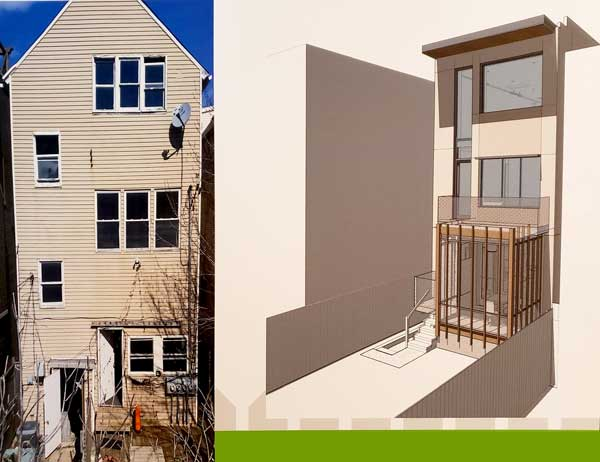 - GBHT 2019 Lakeview Passive House backyard - GreenBuild Home Tour 2019: Lakeview Passive House